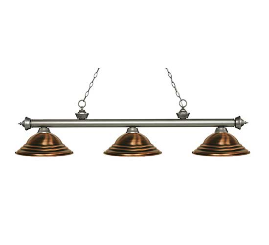 Z-Lite Stepped Antique Copper Pool Table Light