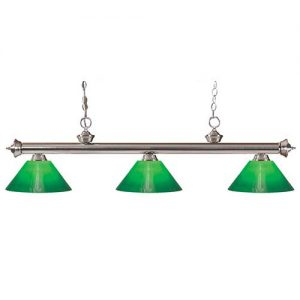 "57"" Green and Glass Shade Pool Table Light"