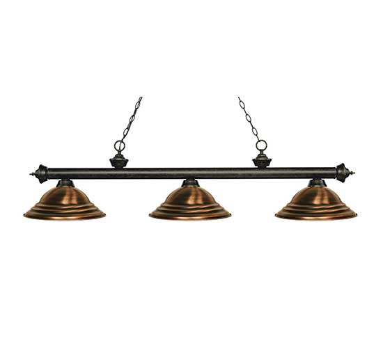 Z Lite Stepped Antique Copper Pool Table Light Billiardlux