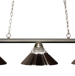 Z-Lite Sharp Shooter Ribbed Glass and Metal 3 Shade Pool Table Light - 155-3BN-RBN