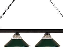 Dark Green Glass and Metal 4 Light Pool Table Light