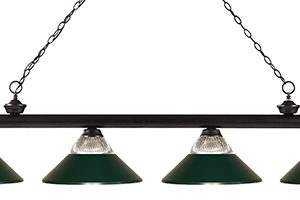 Dark Green Glass and Metal 4 Light Pool Table Light